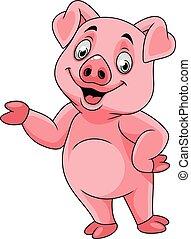 feliz, apresentando, caricatura, porca