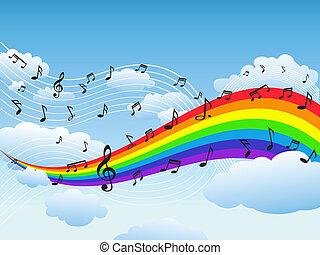 feliz, arco íris, com, nota música, fundo