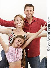 feliz, arriba, familia , brazos