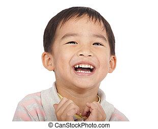 feliz, asiático, criança