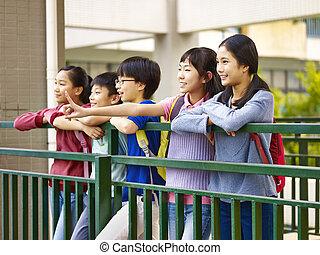 feliz, asiático, elemental, alumnos