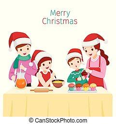 feliz, assando, família, junto, cupcake
