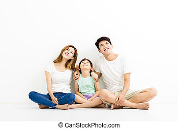 feliz, atraente, família jovem, olhar