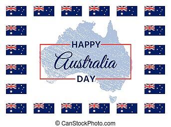 feliz, australia, illustration., banner., vector, feriado, día, design.