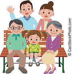 feliz, banco, familia , sentado
