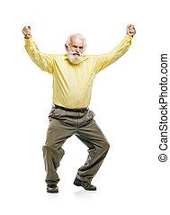 feliz, barbudo, pular, homem velho