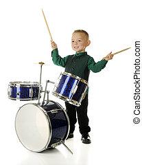 feliz, baterista, menino