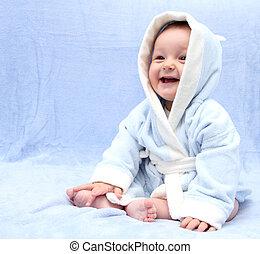 feliz, bebé, después, baño