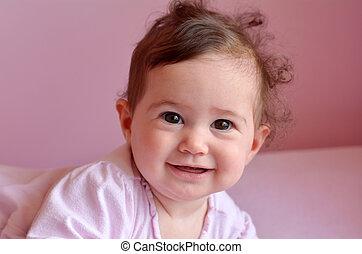 feliz, bebé, sonrisas