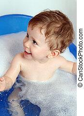 feliz, bebê, banho