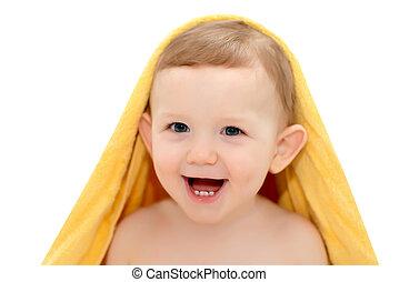 feliz, bebê, em, um, toalha, horizontais, tiro