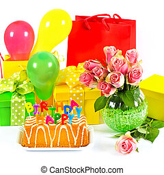 feliz, birthday!, coloridos, partido, decoration.