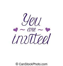 feliz, birthday's, caligrafia, phrase., manuscrito, modernos, lettering., tu, é, invited.