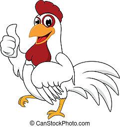 feliz, blanco, pollo, con, aprobar