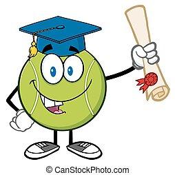 feliz, bola tênis, segurando, um, diploma