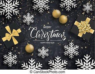 feliz, bolas, feliz, presente, snowflakes, caixas, year., vetorial, fundo, novo, serpentina, natal, illustration.