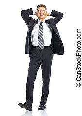 feliz, bonito, homem negócios