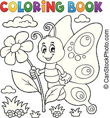 feliz, borboleta, topic, coloração, 4, livro