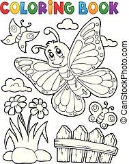 feliz, borboleta, topic, coloração, 5, livro