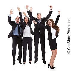 feliz, businesspeople, pular, alegria