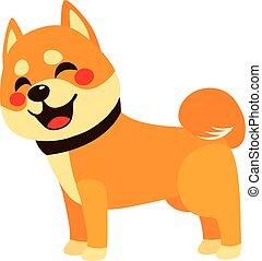 feliz, cão, vista lateral