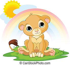 feliz, cachorro, león