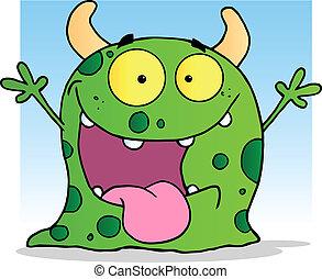 feliz, carácter, caricatura, monstruo