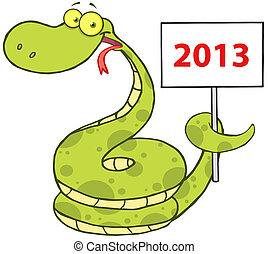 feliz, carácter, caricatura, serpiente