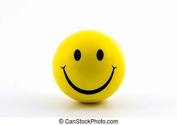 feliz, caras sonrientes, amarillo, ball.