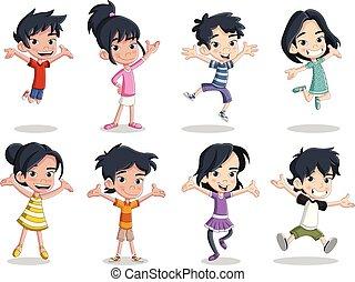 feliz, caricatura, asiático, crianças