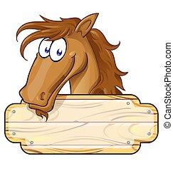 feliz, caricatura, cavalo, mascote, com, um, sinal branco