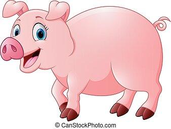 feliz, caricatura, cerdo