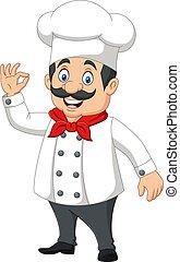 feliz, caricatura, chef, señal, aprobar