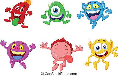 feliz, caricatura, cobrança, monstro