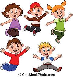 feliz, caricatura, crianças