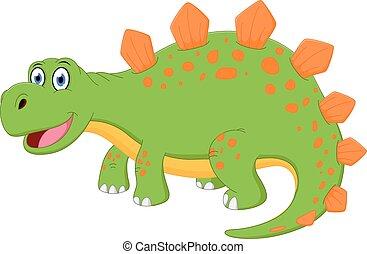 feliz, caricatura, dinossauro