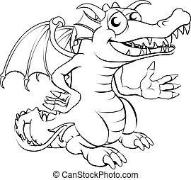 feliz, caricatura, dragão
