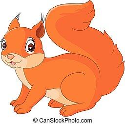 feliz, caricatura, esquilo