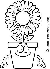 feliz, caricatura, flowerpot