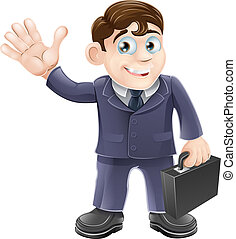 feliz, caricatura, hombre de negocios