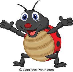feliz, caricatura, ladybug