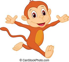 feliz, caricatura, mono