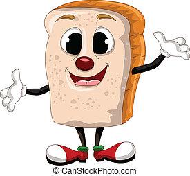feliz, caricatura, pão