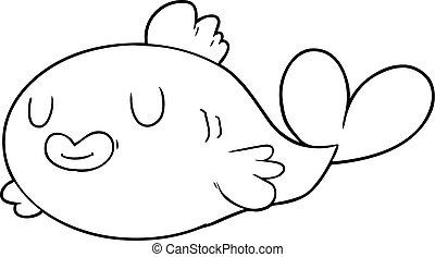 feliz, caricatura, pez