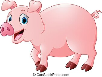 feliz, caricatura, porca