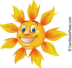 feliz, caricatura, sol
