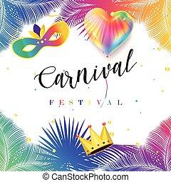 feliz, carnaval, tarjeta de felicitación