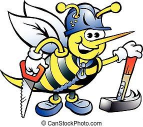 feliz, carpinteiro, trabalhando, abelha