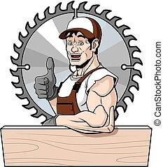 feliz, carpintero
