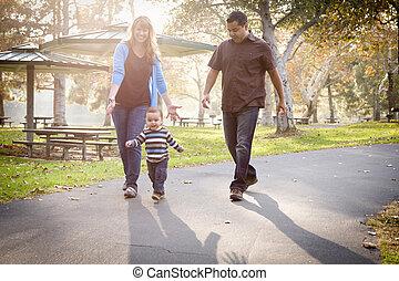 feliz, carrera mezclada, étnico, familia caminar, en el parque